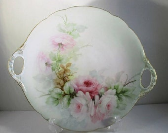 Antique J P L France Cake Plate, Jean Pouyat Limoges Handled Platter, Light Green with Hand Painted Pink Roses, Victorian Era. 1800's