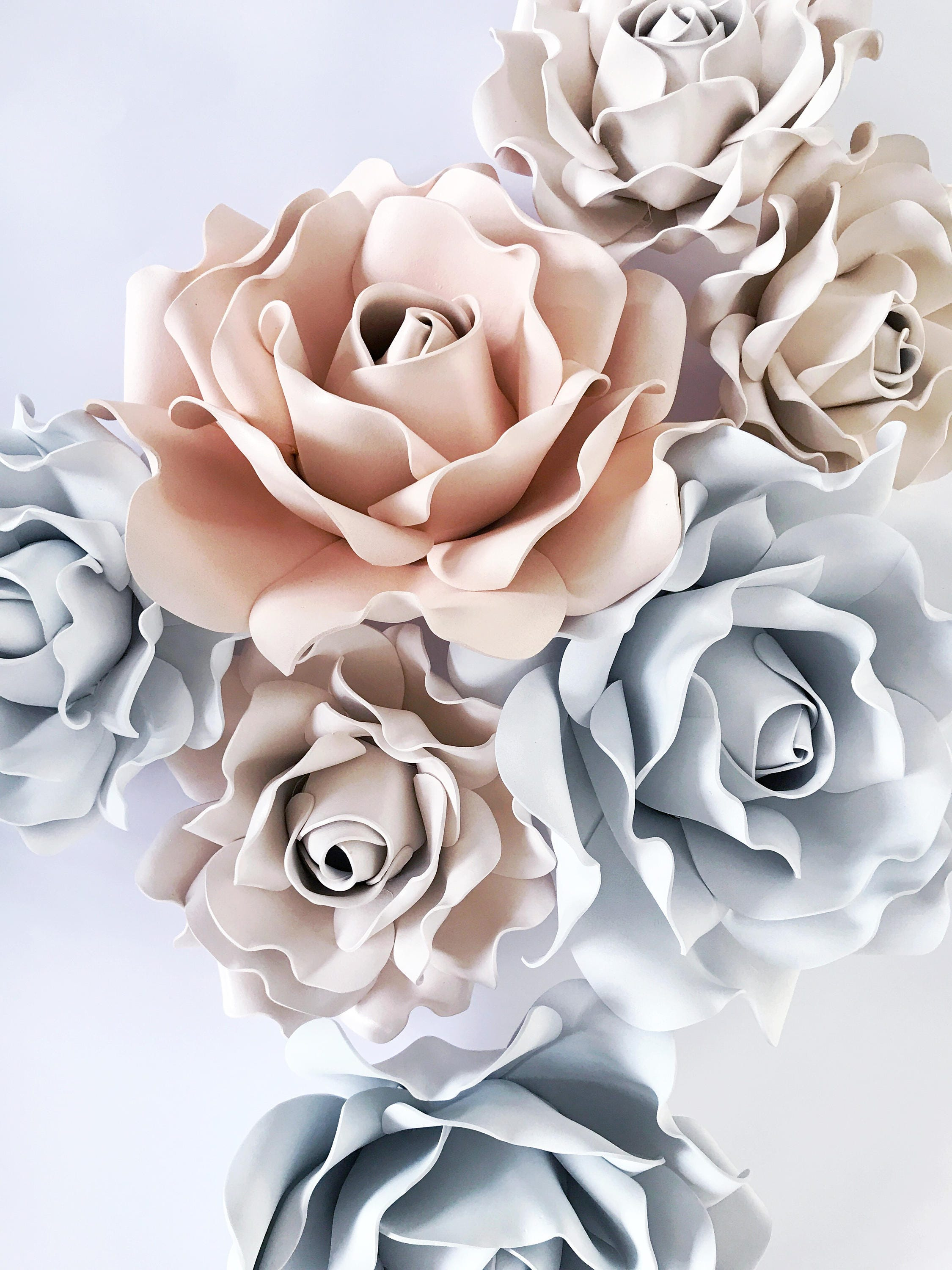 Set 7 Foam Flowers Set Rose Flowers Wall Decor