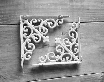 Set of 2 - Shelf Brackets, Metal Shelf Bracket, Iron Shelf Brackets, Wood Shelf Brackets, Black, Silver, White, Coral, Gold, Shelving