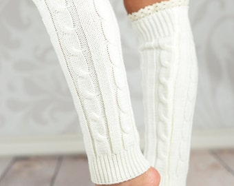 White Braided Leg Warmers With Lace Rim