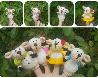 Sheep family finger theater toys family lamb toy montessori toddler Waldorf toy kids gift baby shower gift toy play set gift toddler puppets
