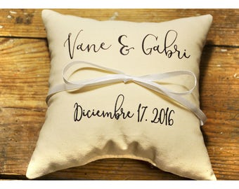 Personalized pillow, Personalized Ring bearer pillow, Wedding ring pillow , wedding pillow ,ring holder , ring bearer pillow  (R48)