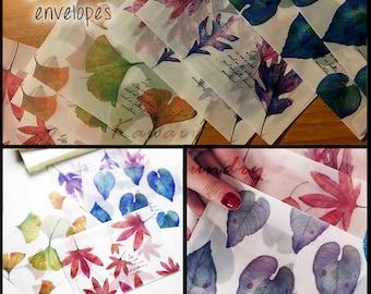 8 Envelopes Leaves Parchment Paper Opaque Envelopes