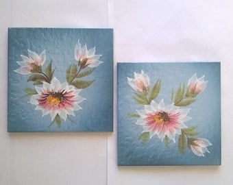 Vintage blue tiles with flowers/antique tiles/ceramics/decorative tiles/wall coverings home