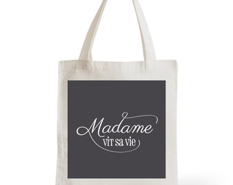 Tote Bag Lady lives his life, gift for her, typography, statement, quote