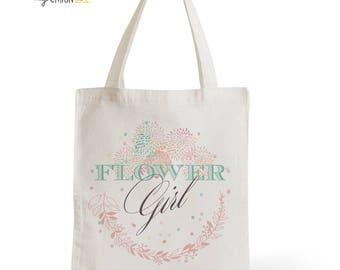 Tote Bag Wedding Flower Girl, romantic gift, Bridal, bachelorette party, witness, invited
