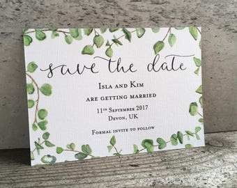 Eucalyptus illustrated modern calligraphy Save the Date card