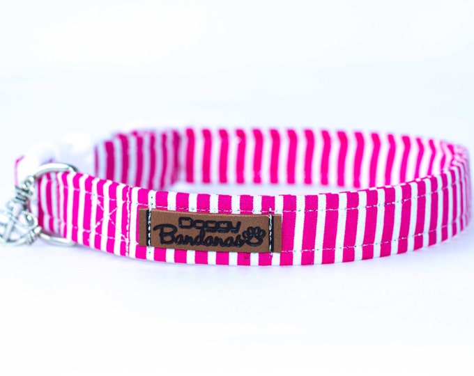 Stripped Dog Collar Nautical Dog Collar Fabric Collar Sailor Dog Collar Pink and White Dog Collar Anchor Dog Collar Pattern Dog Collar
