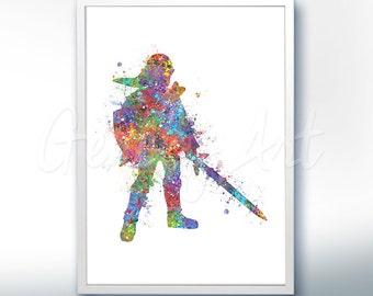 The Legend of Zelda Link [2] Watercolor Art Poster Print - Wall Decor - Watercolor Painting - Watercolor Art - Kids Decor- Nursery Decor
