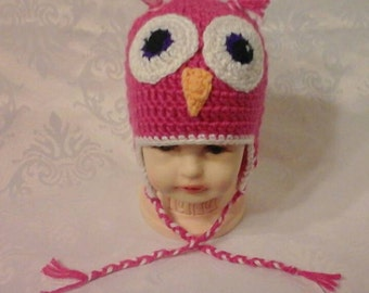 Hat OWL with or without earmuffs.  Custom baby and adult.