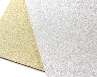25 - 8 1/2 x 11 Glitter Card Stock - Glitter Gold Card Stock - Glitter Silver Card Stock - 104lb