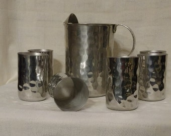 Mid Century Aluminum Hammered Pitcher and  Drink ware set of 7