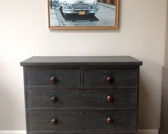 Antique Victorian Mahogany Chest Of Drawers Painted Black Annie Sloan Graphite