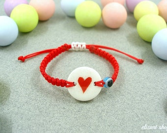 Evil eye baby bracelet, baby protection bracelet, baby heart bracelet, red bracelet baby, infant bracelet, toddler bracelet, baby amulet