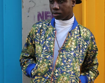 African Wax Bomber Jacket - Mens African Fashion - Wax Print Jacket - Gold Jacket - African Clothing - African Jacket - Festival Jacket