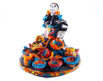 Pottery merchant day of the dead style catrina mexican ceramic talavera