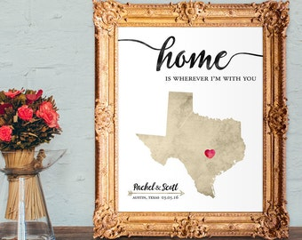 Wedding anniversary gift - Valentines Day gift - Anniversary gift for wife - Anniversary gift for husband - PRINTABLE - any state
