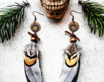 "Earrings feathers, beads, wood, suede and bronze, ethnic, gypsy collection ""Sherokee"""