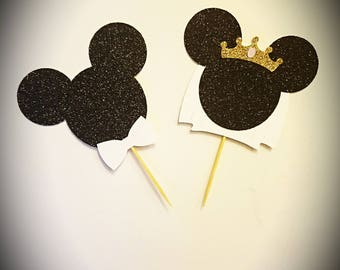 Minnie and Mickey Bride and Groom Cupcake Toppers