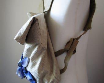 adjustable iris floral fabric shoulder bag backpack bag