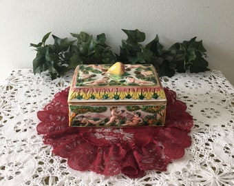 1950's Italian High Relief Covered Porcelain Box