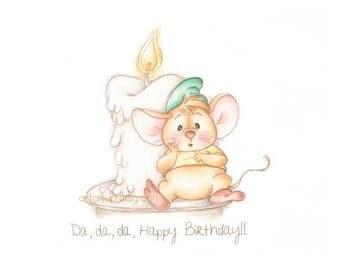 Cinderella mouse Gus, print, Disney