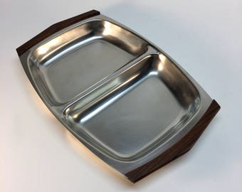 Vintage Rostfritt Stal sectioned serving tray