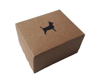 Black Chihuahua Brown Kraft Card Chocolate Jewellery Bracelet Gift Box
