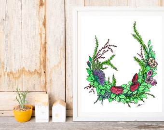 Watercolour Wreath Print