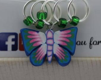 Stitch Marker Set - Blue & Pink Butterfly
