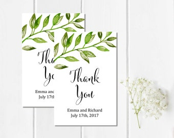 Botanical Greenery Personalized Wedding Favor Gift Tags, Printable Custom Foliage Wedding Favor Tags, Green Leaf Thank You, Download, 105-A