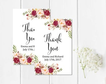 Burgundy Boho Personalized Wedding Favor Gift Tags, Marsala Printable Custom Floral Wedding Favor Tags, Floral Thank You, Download, 120-W