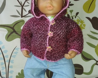 Hand-knit hooded cardigan for baby doll