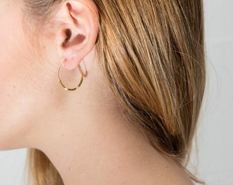 Boucles d'oreilles créoles plaqué or kaki blanc et doré minimaliste bobo boho
