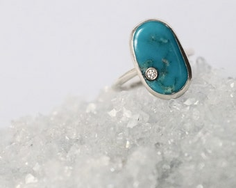 Natural Arizona Turquoise with Real White Diamond Ring / Sterling Silver White Diamond Bezel Statement Ring / Turquoise and Diamond Ring