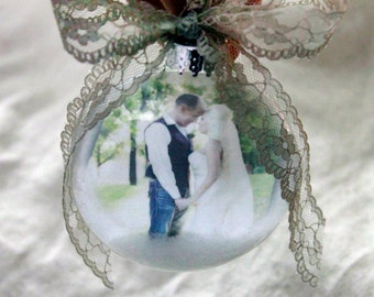 Our First Christmas as Mr and Mrs Rustic Ornament lace First Married Christmas, Picture Ornament, Our First Christmas photo ornament