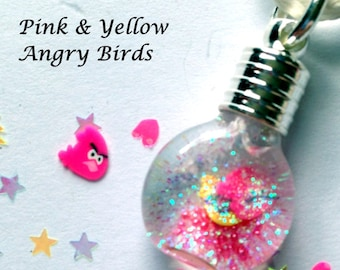 Pink and Yellow Angry Bird Snowglobe Necklace,kids jewelry,kids necklace,angrybirds,snowglobes,snow globes,custom,mini,tiny,bottle jewelry