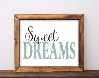 Sweet Dreams, printable, sweet dreams print, bedroom wall art, bedroom decor, bedroom wall decor, printable quotes, printable saying