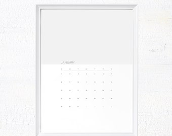 Grey Minimalist 2017 calendar printable, 2017 wall calendar, modern calendar, printable office calendar, monthly calendar,  digital download