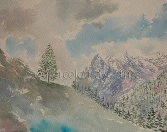 Me and my loneliness, watercolor original, watercolor unique, watercolor mountain, watercolor landscape, watercolor trees, French Alps, snow