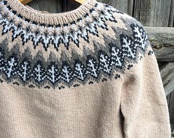 Icelandic sweater. Lopapeysa. Handmade.Handknitted Icelandic Fair Isle sweater, Lopapeysa for women