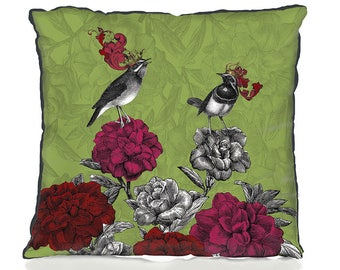 Green pillow cover Blooming Birds, Rhododendron housewarming gift on trend greenery contemporary design cushion cover throw pillow trending