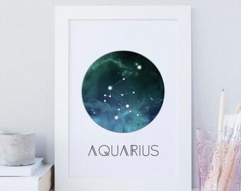 Aquarius horoscope wall art, printable zodiac art, space art print, constellation wall art, aquarius gift, printable wall art decor, galaxy