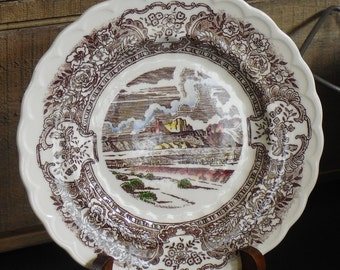 Vintage Vernon's 1860 Poppytrail, Bread Butter Plate, Brown Transferware, Western Scene, Hand Painted, 1940s Collectible Dinnerware