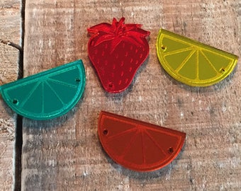 Custom Wholesale laser cut and etched fruit slices mirror acrylic beads, 38mm x 21mm, 10 pieces, Orange, Lemon, Lime wedges