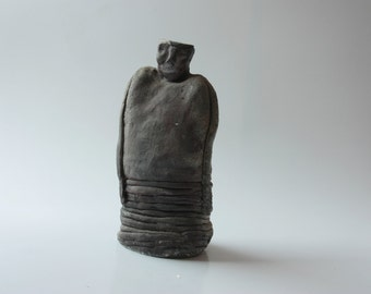 Ceramic sculpture, Raku Sculpture , Ceramic Man, black Sculpture, clay sculpture, Unique Ceramic Figurine, Ceramic Man, black Sculpture