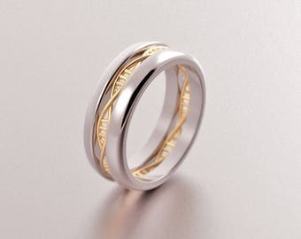 Non traditional ring etsy dna ring dna wedding ring geek wedding ring science ring helix biology junglespirit Image collections