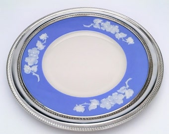 1930s Lenox 'Apple Blossom' Plate in Blue and Ivory with Gadroon Sterling Silver Border