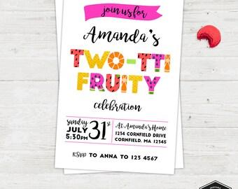 Twotti Fruity Girl, Fruit Party Invitation | Birthday Party Printable Invitation Card | English or Spanish