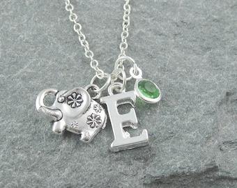 Elephant pendant, silver elephant necklace, personalized jewelry, initial necklace, swarovski birthstone, elephant jewelry, gift for her